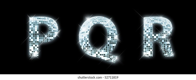 P,Q,R - font made from a disco ball