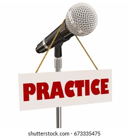 Practice Sign Microphone Presentation Speaker Rehearsal 3d Illustration
