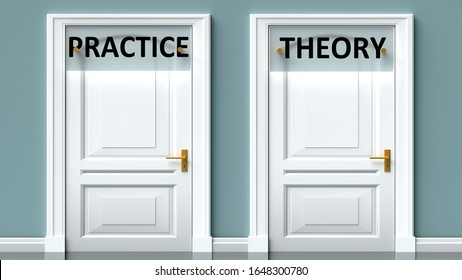 Practice and theory as a choice - pictured as words Practice, theory on doors to show that Practice and theory are opposite options while making decision, 3d illustration