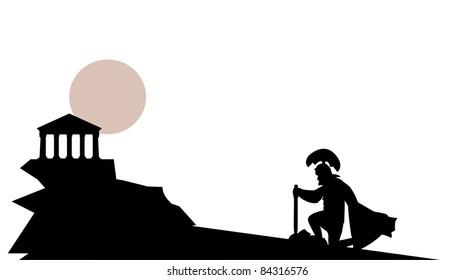Praetorian silhouette near temple