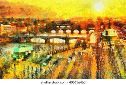 Prague bridges at morning sun beams light cityscape oil painting