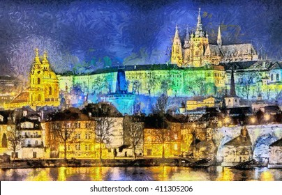 Prague: colorful illuminated palaces and churches over river oil painting