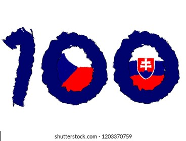 Prague, Czech Republic- October 14 2018- 100 years of Independence Czech Republic- Czechoslovakia independence Logo with czech and slovakia flag