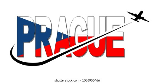 Prague flag text with plane silhouette and swoosh illustration