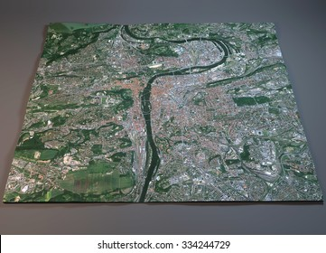 Prague map, satellite view, section 3d, Czech Republic. Element of this images are furnished by NASA
