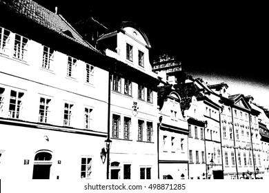 PRAGUE - SEP 1 , 2016 - Baroque buildings  on Nerudova Street,  Prague, Czech Republic
