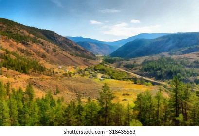 Prairie near Kamloops, British Columbia, Canada. Stylized as painting
