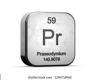 Praseodymium element from the periodic table series. Metallic icon set 3D rendered on white background