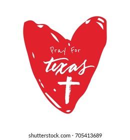 Pray For Texas Typography Heart Design