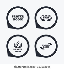 Prayer room icons. Religion priest faith symbols. Pray with hands. Flat icon pointers.