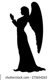 Praying Angel Silhouette. Figure of a female Angel, like a statue.