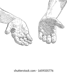 Praying hands drawing styles. Illustration.