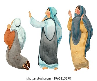 Praying women, myrrh-bearing wives, isolated on white background figures of Christians. For Christian publications, magazines, prints.