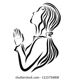 Praying young woman, faith and prayer, religion