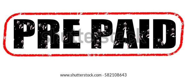 pre paid red and black stamp on white background.