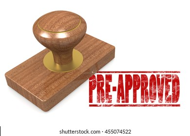 Pre-approved wooded seal stamp image, 3D rendering