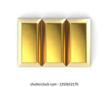 Precious shiny gold bar isolated on the white background 3D illustration top view mock up