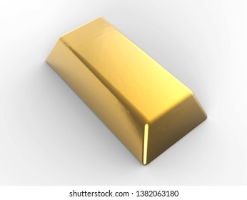 Precious shiny gold bar isolated on the white background 3D illustration mock up