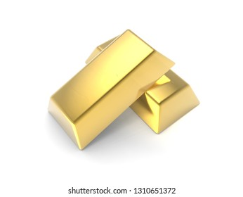 Precious Shiny Gold Bars Stacked Isolated On White Background 3D illustration Mock Up