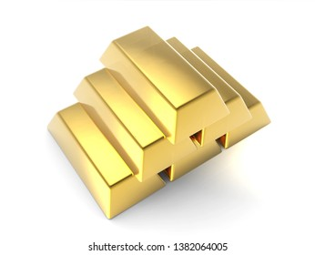Precious Shiny Gold Bars Stacked Pyramid Isolated On White Background 3D illustration Mock Up