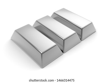Precious silver, platinum, aluminium bar isolated on the white background 3D illustration mock up