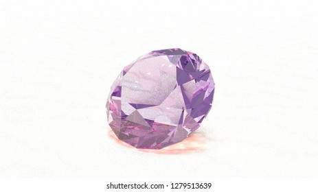 Precious stone on wooden surface 3d illustration