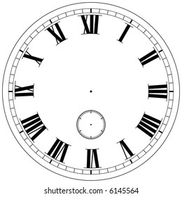 Precision clock face template isolated on white