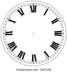 precision roman clock face template