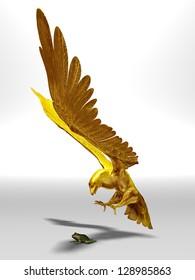 predation, golden eagle grabs a frog