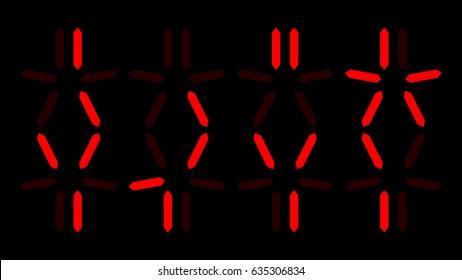 Predator countdown, digital clock with alien numbers
