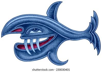 Predatory blue fish with long teeth - pencil drawing