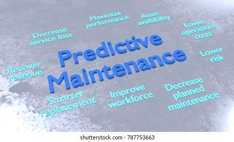 Predicitve maintenance keywords surrounding big blue letters on metal surface 3D illustration