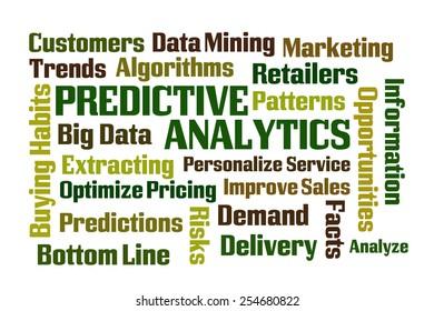Predictive Analytics word cloud on white background