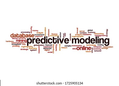 Predictive modeling word cloud concept on white background