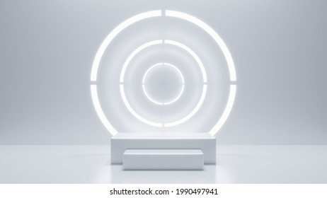 Preduct display, White podium and background with abstract minimal scene for product and brand presentation, Abstract podium composition, White background copy space, 3d render, 3d illustration.