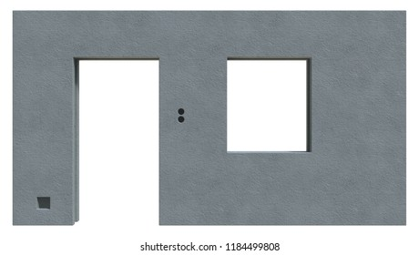 Prefabricated house component isolated on white. 3d rendering
