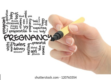 pregnancy on whitebaord with hand