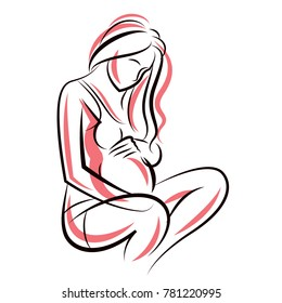 Pregnant Female Beautiful Body Outline Mother To Be Drawn Illustration Happiness And