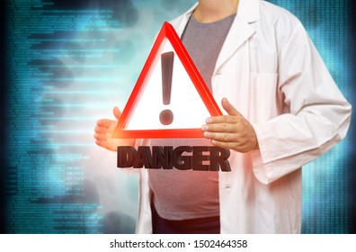 Pregnant white woman scientist holding a red danger triangle warning sign on a blurred blue digital background 3d rendering. Concept for genetic engineering, overmedication and risk to the unborn.
