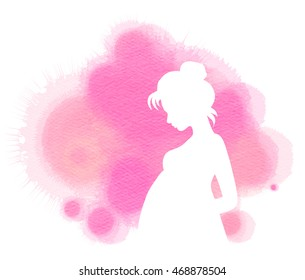 Pregnant woman silhouette plus abstract water color painted. Mother and Child Health. Digital art painting.
