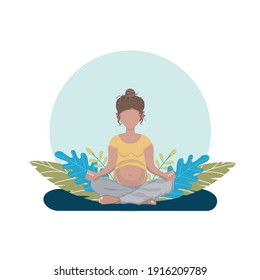 A pregnant young woman in a Yoga pose with green leaves on the background. A banner, poster for Medical, Pregnancy projects. A flat illustration.