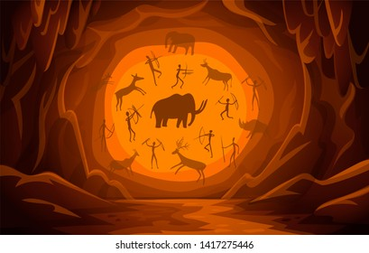 Prehistoric Cave with cave drawings. Cartoon mountain scene background Primitive cave paintings. ancient petroglyphs. illustration.