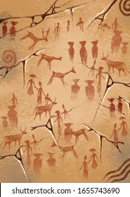 Prehistoric cave paintings over 4000 years