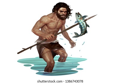Prehistoric Illustration of Caveman Catching Fish Traditionally with Branch Spear