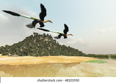 PREHISTORIC MARSH - Two Microraptor dinosaurs fly over a wetland marsh in prehistoric times.
