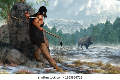 A prehistoric Native American hunter wearing furs and carrying a atlatl and spear stalks a bison in a snow covered valley in the Rocky Mountains. 3D Rendering