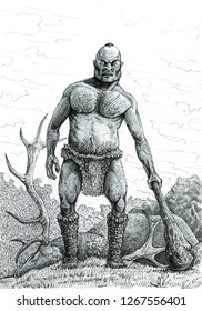 Prehistoric  savage cannibal. Ink drawing.