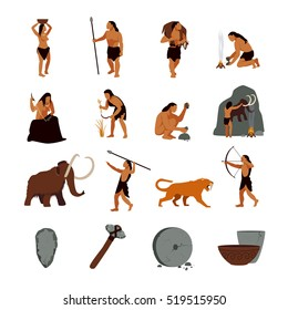 Prehistoric stone age icons set presenting life of cavemen and their primitive tools flat isolated  illustration