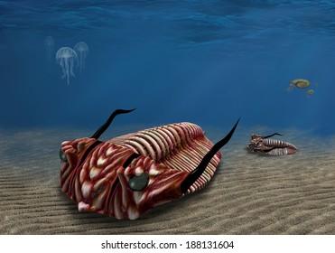 Prehistoric trilobite scavenging on the ocean floor