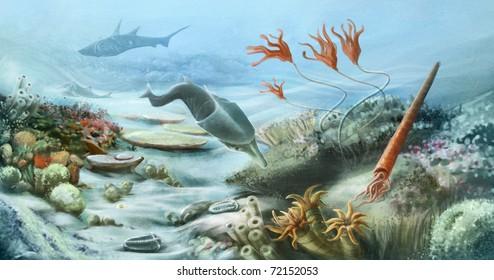 prehistoric underwater life in silurian period